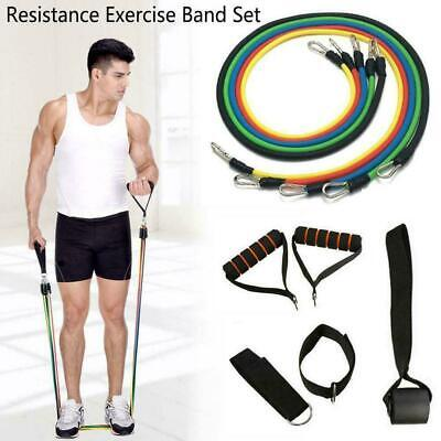 11x Durable Resistance Exercise Band Yoga Pilates Abs Fitness Tube Workout R3D4