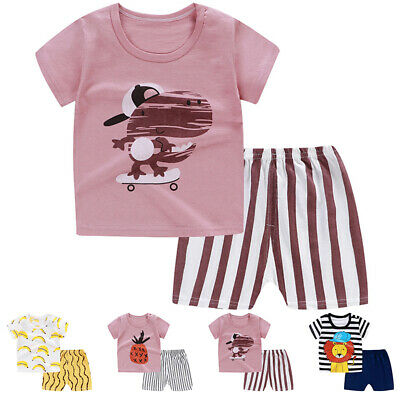Baby Toddler Kids Boy Girl Summer Cartoon Print Short Sleeve T-shirt Shorts Set