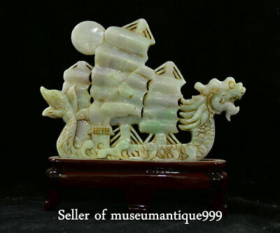 "8.8"" Old Chinese emerald jadeite Jade Carved Dragon sailing boat ship Sculpture"