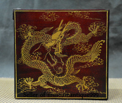 16CM Qianlong Marked Ancient China lacquerware Wood Dynasty Dragon Box cabinet