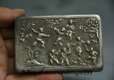 """3.4"""" Marked Old China Miao Silver Dynasty Child Boy square ink cartridge Box"""