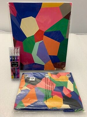 Vera Bradley Pop Art Flexi 3 Ring Binder Pencil Pouch & Gel Pens NEW
