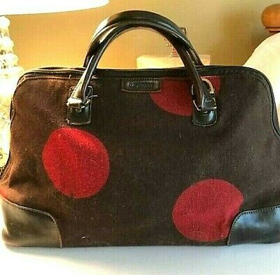 Vintage Hartman Brown W/Red Polka Dots Wool & Leather Carryon Overnight Bag