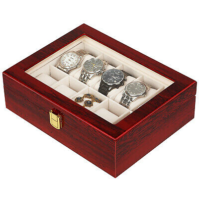 10 Slot Watch Display Case Wood Wooden Boxes Jewelry Storage Organizesr Gifts US