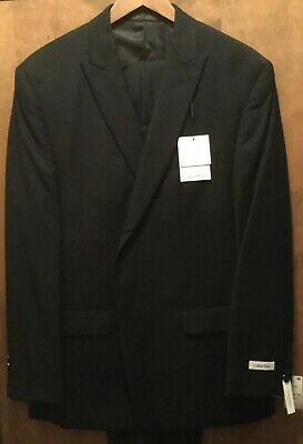 Calvin Klein Slim Fit Two Button Black Tonal Stripe 100% Wool Suit Peak 44R 38W