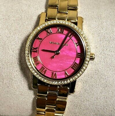 Michael Kors MK3708 Petite Norie Golden Breclet Watch With 28mm Pink Pearl Face