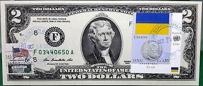Us $2 Dollars 1976 Federal Reserve Note  Coin And Flag  Ukraine Gem Unc