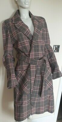 Women's Next cream black pink Check Gingham Trench Coat Long Midi Jacket Size 12