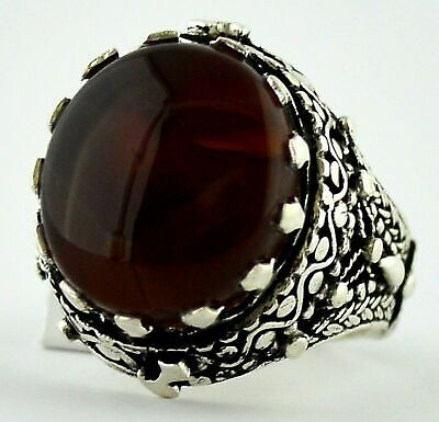Yéménite Deep Brown AQEEQ Femmes ring sterling silver 925 Handmade Brown Agate Ring