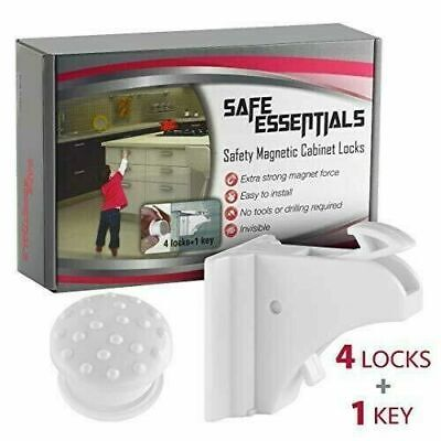 Safe Essentials-Magnetic Cabinet Locks Child Safety, Invisible, (4 Pack)