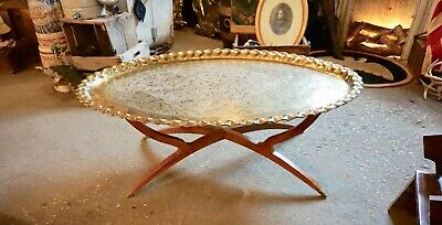 Vintage Mid Century Brass Oval Tray Table Wooden Foldable Spider Leg