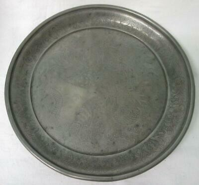 Antique 19th Century Chinese  Kut Hing Pewter Swatou Plate/Tray