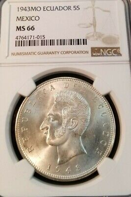 1943 Ecuador Silver 5 Sucres 5S Mexico Mint Ngc Ms 66 Top Pop Stunning Gem Bu