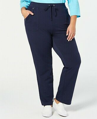 Karen Scott Womens Pants Blue Size 1X Plus Drawstring Knit Stretch $54 381