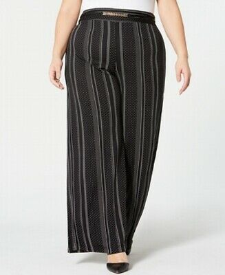 NY Collection Womens Pants Black Size 2X Plus Wide Leg Striped Stretch $54 338
