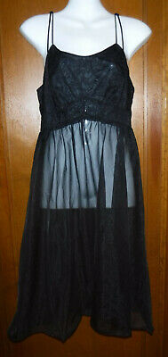 Vtg Vanity Fair Short Black Nightgown double layer Sheer & double Straps Size 34