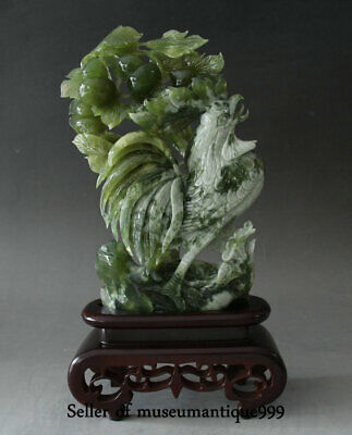"""15.6"""" Chinese Green Xiu Jade jadeite Carved Zodiac Rooster Cock Gourd Statue"""