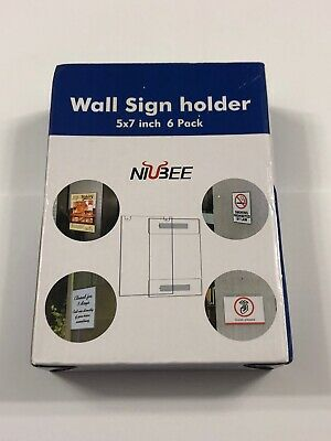 Niubee 5x7 inch Wall Mount Acrylic Sign Holder with 3M Tape, Horizontal (6 pack)