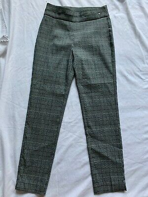 NY Collection Women's Stretch Plaid Pull On Bootleg Plaid Slit Pants Sz S