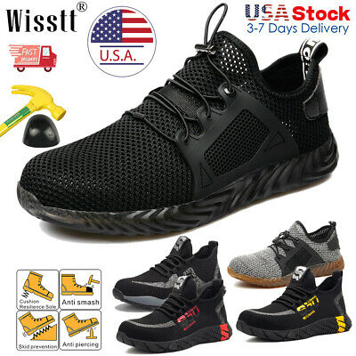 Men's Indestructible Safety Steel Toe Work Shoes Bulletproof Boots Mesh Sneakers