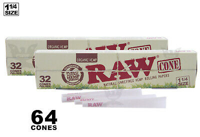 AUTHENTIC RAW (64 CONES) ORGANIC Hemp 1-1/4 Pre-Rolled Cones Fast Free Shipping