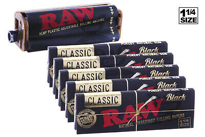AUTHENTIC RAW 6PC Bundle - (5X) 1-1/4 Size BLACK Papers + Rolling Machine