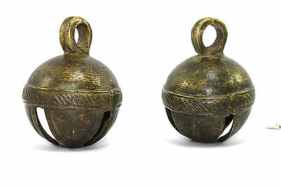 Pair Of Beautiful Hand Crafted Collectible Indian Vintage Brass Bell.G70-237 AU