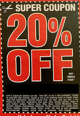 20% off Harbor Freight Any Single Item Online Super Coupon Exp 4/1/20 E Deliver