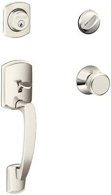 Polished Nickel F58GRW618 Schlage F58-GRW Greenwich Single Cylinder Exterior Entrance Handleset from the F