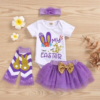 AUNewborn Baby Girl Clothes Romper Bodysuit Tutu Skirt My 1st Easter 4PCS Outfit