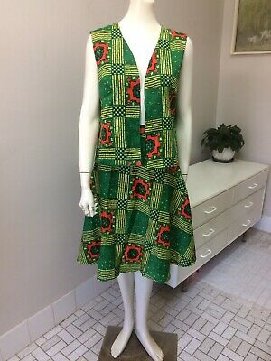 Original Vintage 70s Skirt & Vest Top Set , XL Size ,Abstract , Boho Retro Skirt