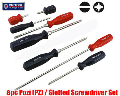Britool Hallmark 9Pc Slotted / Pozidriv Pz Screwdriver Set