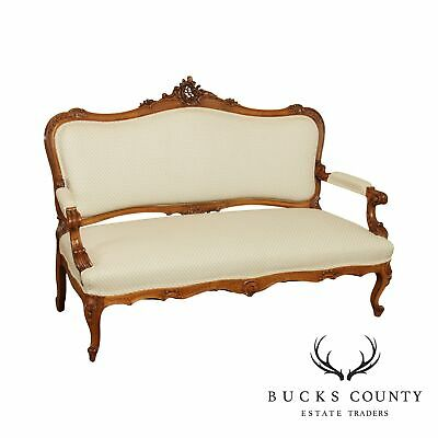 French Louis XV Style Antique Walnut Settee