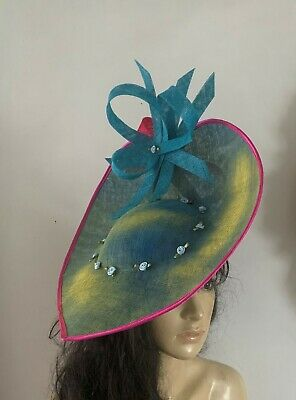 Turquoise Yellow Pink saucer hat fascinator feather wedding ascot fascinators