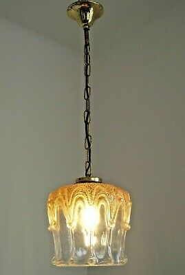 Vintage French Mid Century Clear & Amber Glass Shade Pendant Ceiling Light 1532