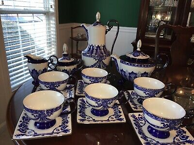 Bombay Company Grace - Blue & White Tea and Coffee Set With Cups & Saucers