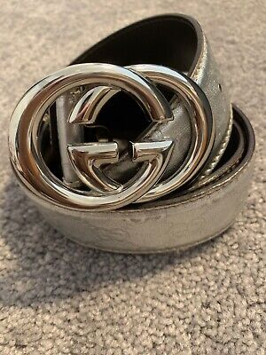 GUCCI VTG Silver Leather Belt GG Logo Silver RARE Italy