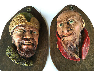 Rare Pair Of Antique Hand Carved Wooden Heads