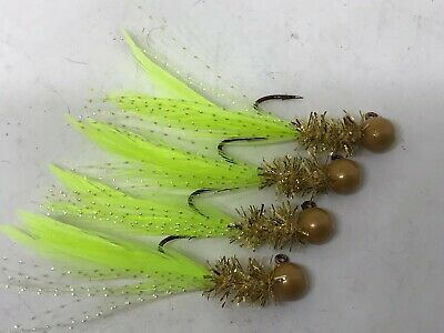 Crappie Trout and Bass 4 pack of hand tied 1//16 oz jigs #088-P-H Gills