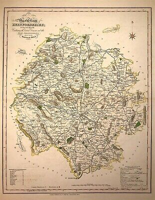 Large Map HEREFORDSHIRE towns, gentleman houses election poll reform bill 1833