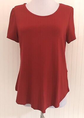 JM Collection NWT Women's Petite Small PS Knit T-Shirt Blouse Red Short Sleeves