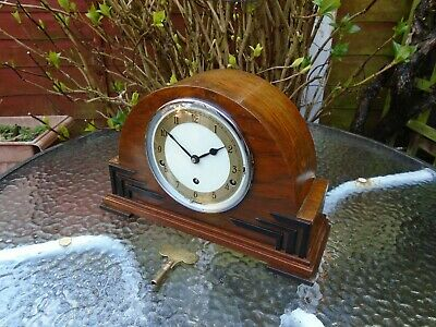 British Garrard Scarce Fully Restored Musical Triple Chimes Walnut Mantle Clock
