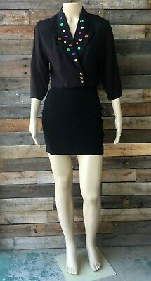Vintage 1990's Black Cropped Jeweled Bolero Jacket and Skirt