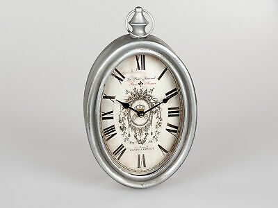 Reloj de Pared Paris Ovalo L.34cm Antiguo Plata Crema Metal Formano F20