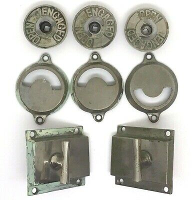 Set of 3 Antique Brass Washroom Privacy Latches - Engaged / Open (Round)