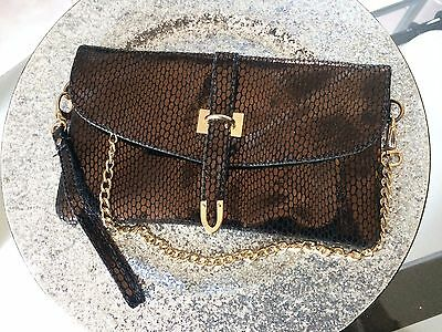 Handbag Pouch Evening Marriage Brown with Chain Gold