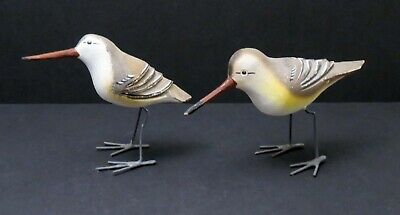 """Vintage Wooden Hand Carved & Hand Painted Birds 3"""" wire legs and feet"""