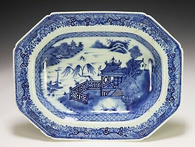 Large Antique Chinese Blue and White Porcelain Deep Platter