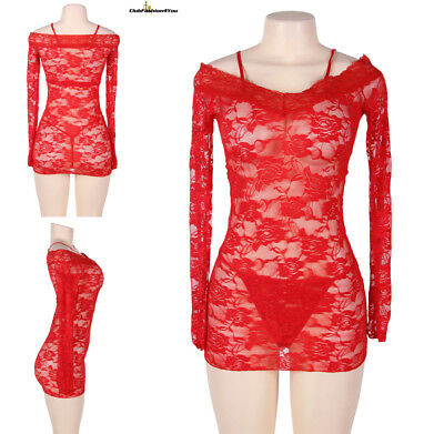 Sexy Lingerie Sexy off -shoulder Sheer Red Lace Chemise Dress XS-M R80451