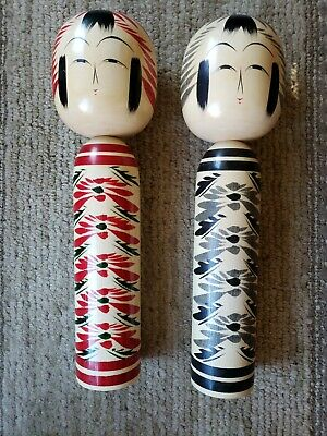"""JAPANESE JAPAN WOOD DOLL FIGURE SIGNED ASIAN 2 different colors 12"""" tall nice"""